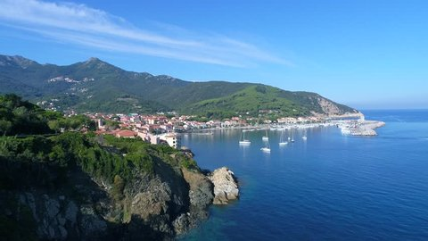 Holidays in Italy, Isle of Elba in Tuscany.  Little village of Marciana Marina. Panoramic view