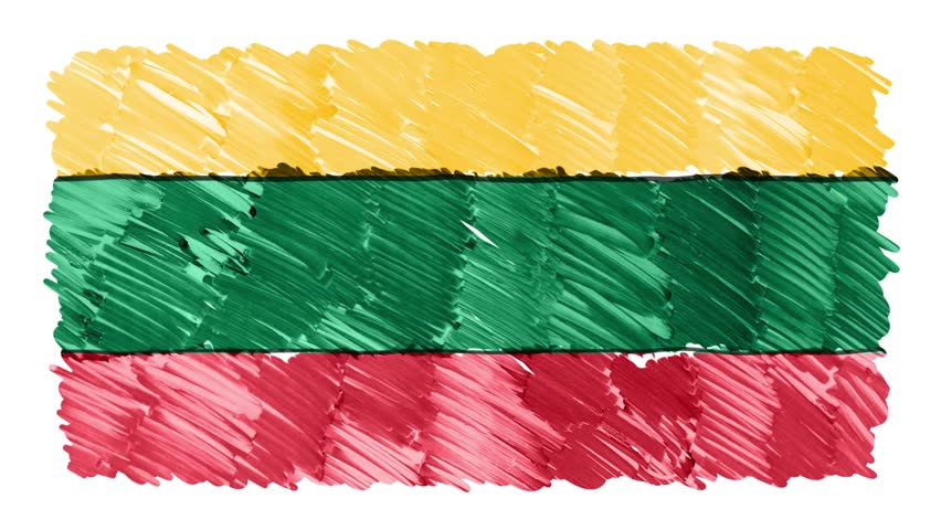 stop motion marker drawn Lithuania flag cartoon animation background new quality national patriotic colorful symbol video footage