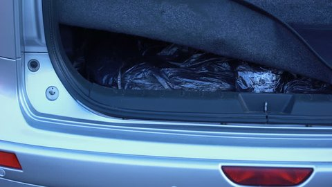 Man hiding forbidden packets in car trunk, drugs smuggling, illegal trading