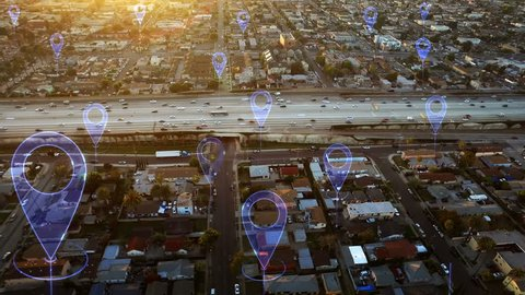 Aerial smart highway. Localization icons in a connected futuristic city.   Technology concept, data communication, artificial intelligence, internet of things. Traffic in a highway.