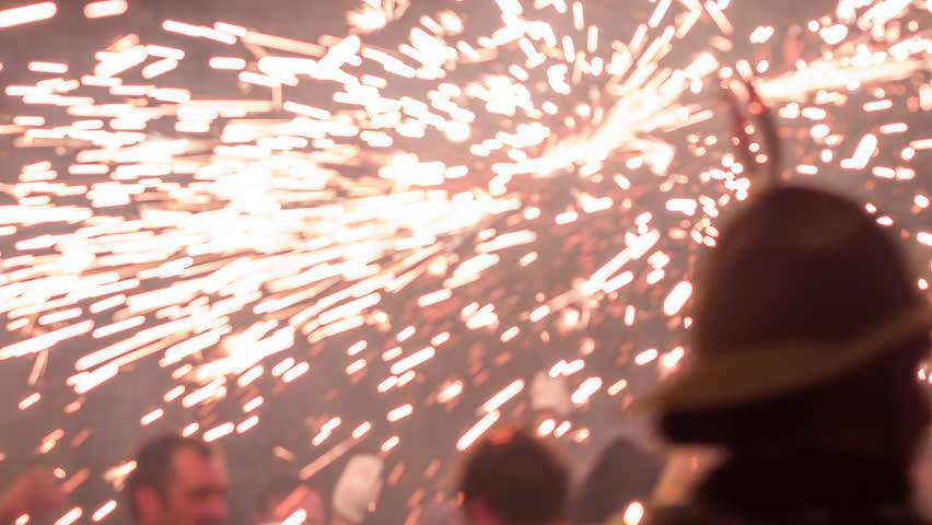 Barcelona, Spain - September 22 2018 : Crowds in the street for the fire run, correfoc during la merce festival. | Shutterstock HD Video #1016823175