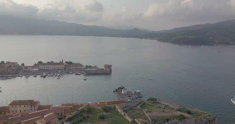 Aerial view of the Stone Forte Falcone, the ancient fortress in Portoferraio, Elba Island (Italy)