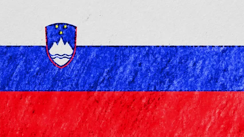 stop motion pastel chalk crayon drawn Slovenia flag cartoon animation seamless loop background new quality national patriotic colorful symbol video footage
