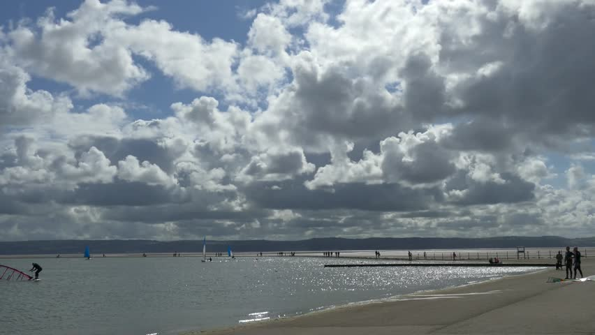 Beautiful Summer day at West Kirby in the Wirral Peninsula. Amazing cloud formation and blue sky.