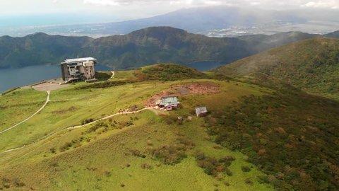 Aerial view of lake Ashi from mount Komagatake, Hakone, Japan