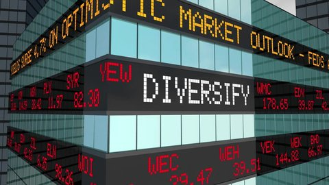 Diversify Your Equities Investment Safe Strategy Stock Market Ticker 3d Animation