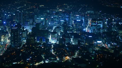 Time Lapse Aerial View of Seoul City Skyline Office Towers and Car Traffic Night