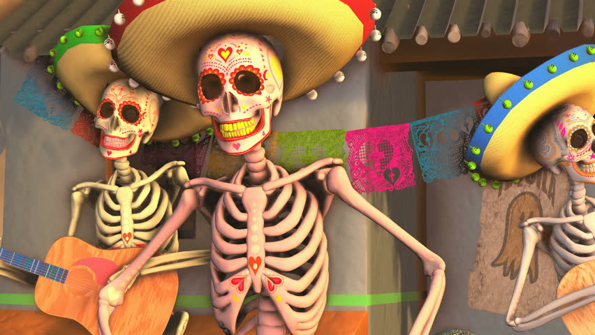 Seamless animation sugar skeletons dancing salsa with mariachis in a tipical mexican village at sunset. Funny Halloween 4K background with decoration for Dia de los muertos | Shutterstock HD Video #1016917495