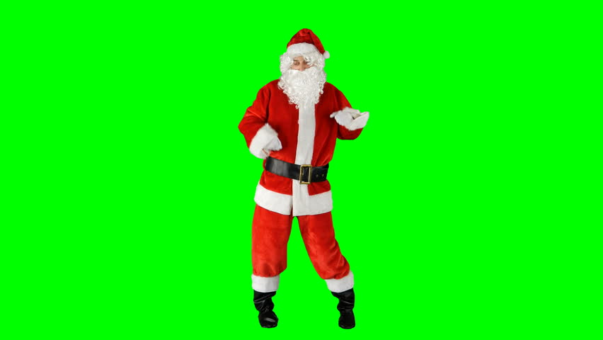 Santa Claus Dancing on Isolated Green Blue Screen Chroma Key Alpha Channel #1016945935