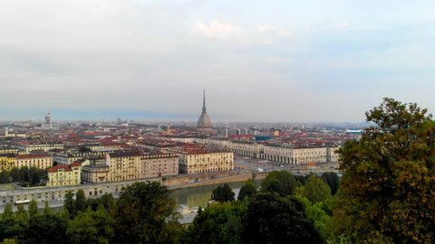 Turin Skyline aerial view. Torino Aerial footage at morning from sky.