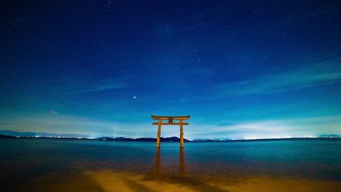 Takashima-ward, Shiga / Japan - 08.07.2018 : It's a Japanese shrine gate in Biwa lake in Shiga Japan. 4K & time lapse. camera : Canon EOS 5D mark4