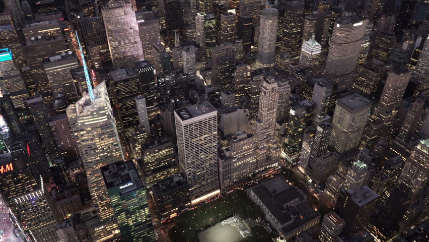 New York City Circa-2015, aerial view over 42nd Street and 5th Avene at night