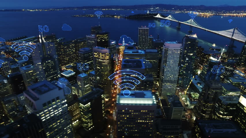 Aerial city connected through 5G. Wireless network, mobile technology concept, data communication, cloud computing, artificial intelligence, internet of things. Futuristic city. San Francisco skyline.