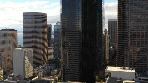 SEATTLE, WASHINGTON, USA - SEPTEMBER 15, 2018: Aerial drone video of the Columbia Center Seattle Washington