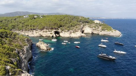 Aerial view, secluded cove, Cala Falco and Cala Bella Donna with rugged cliffs, Sol de Mallorca, Cala Vinyes and Calvia, Mallorca, Balearic Islands