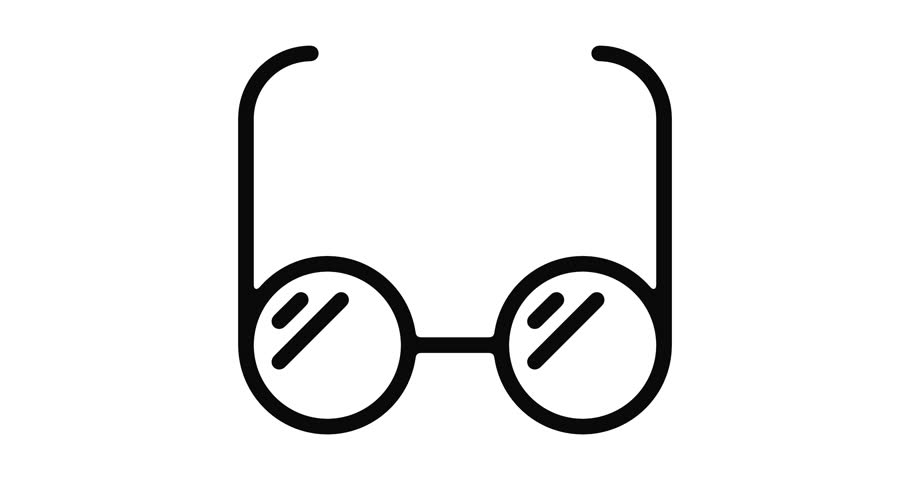 Eyeglasses line icon motion graphic animation with alpha channel.