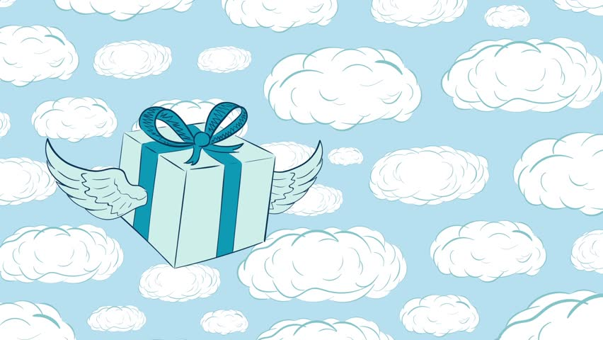 Winged gift in icon and sky | Shutterstock HD Video #1017131455
