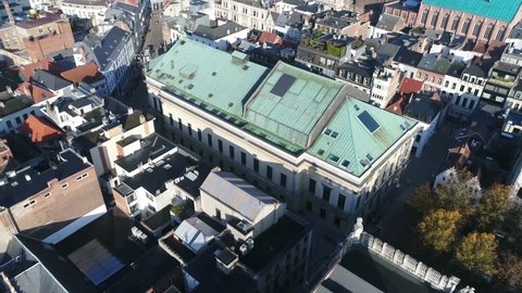 Aerial footage of theatre located in Antwerp Belgium the building is designed in neoclassical style