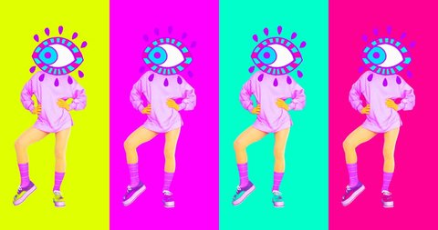 Contemporary animation art. Dancing girl Eyes. Fashion colorful vibes