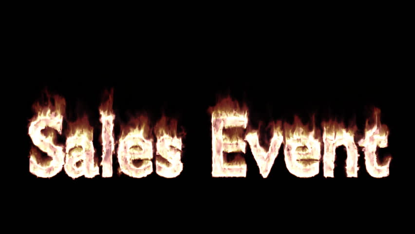 Animated burning or engulf in flames text sales event for promotional or marketing or commercial use. Fire has transparency and isolated and easy to loop. Mask included.
