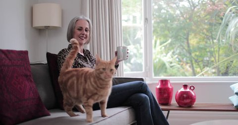 Mature adult female relaxing at home with a cat