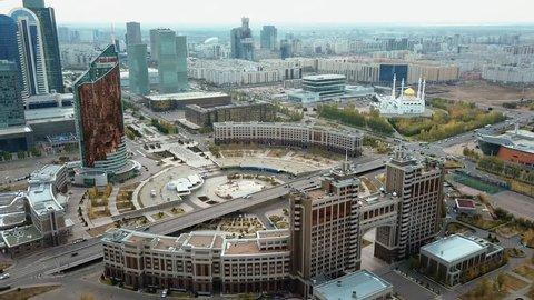 Astana, Kazakhstan aerial drone view of city center .