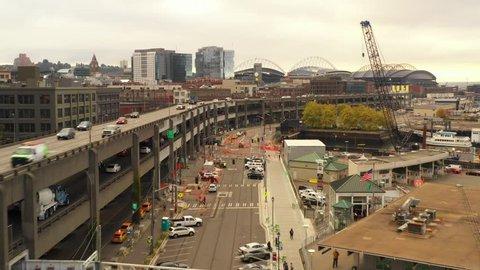 SEATTLE, WASHINGTON, USA - SEPTEMBER 15, 2018: Streets of Downtown Seattle Washington USA