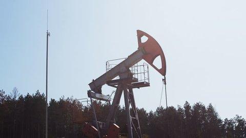 Extraction of petroleum by Pump Jack on an oil well in Russia
