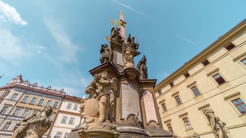 Prague - Holy Trinity Column, Malá Strana / Time Lapse Video 4K