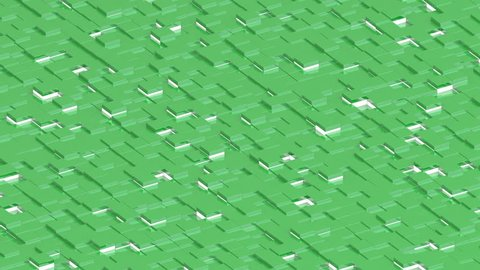 Waving surface with green cubes with lights animation background