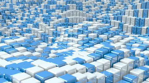 Waving surface with glossy white and blue cubes animation background