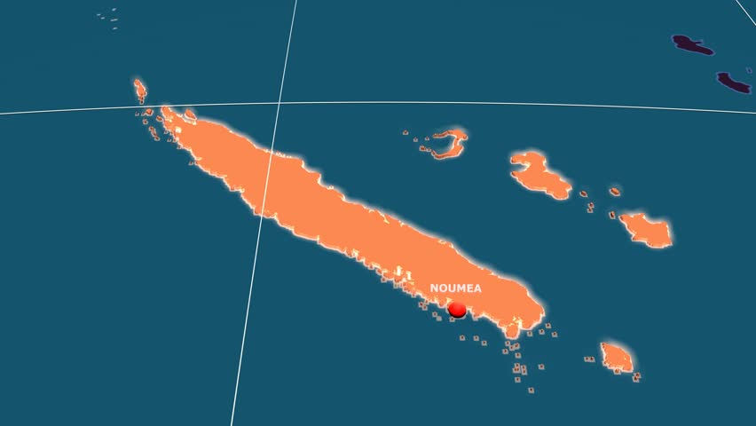 Zoom-in on New Caledonia extruded on the globe. Capital, administrative borders and graticule. Administrative division
