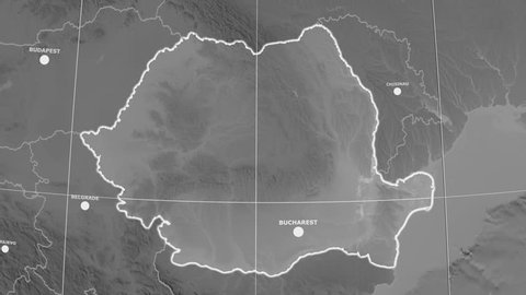 Zoom-in on Romania outlined on the globe. Capital, administrative borders and graticule. Elevation & bathymetry - grayscale