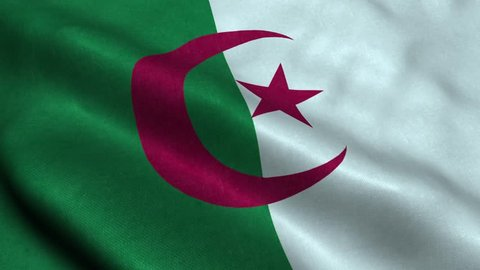 Photorealistic 4k Close up of algeria flag slow waving with visible wrinkles and realistic fabric. A fully digital rendering, 3D Animation. 15 seconds 4K, Ultra HD resolution algeria flag animation.