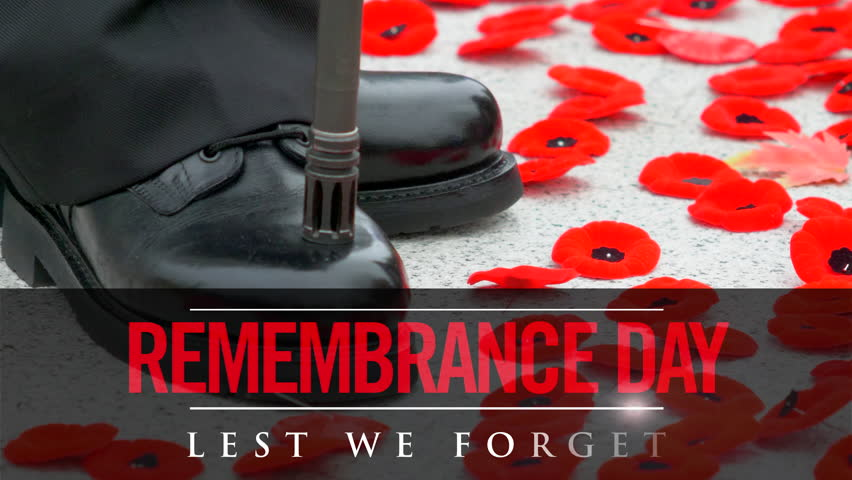 Lest We Forget, November 11th Soliders Remembrance Day Animated Text Background