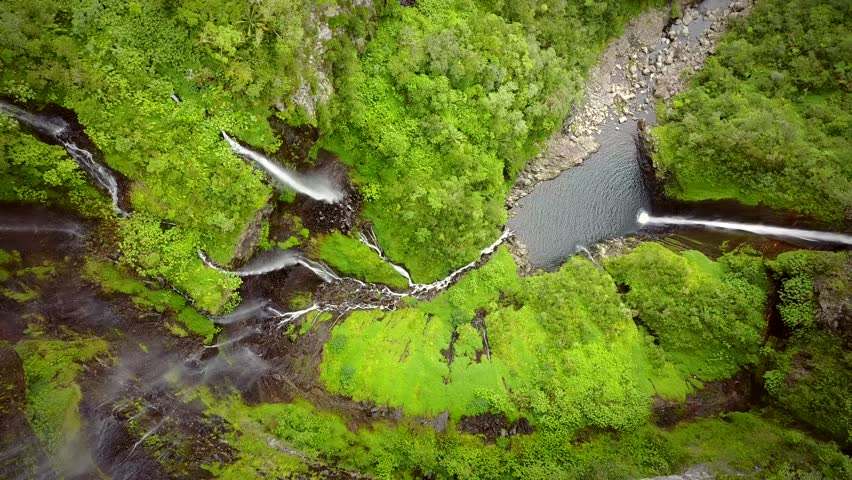 Aerial view of voile de la Mariee waterfall, Reunion island. | Shutterstock HD Video #1017300595