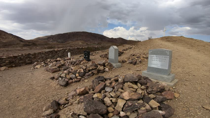 Calico, California, United States - August 15, 2018: Calico Ghost Town Cemetery tombs. The mining town of Calico is located near Barstow in San Bernardino county. Calico is State Historic Landmark.