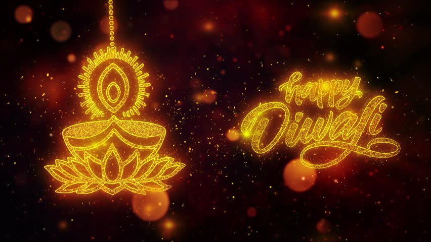 Happy Diwali text with Golden Shining Glitter Star Dust Wave of Trail Sparks Blinking Particles Fireworks. Shubh Deepavali Light and Fire Festival lights Greeting Card.