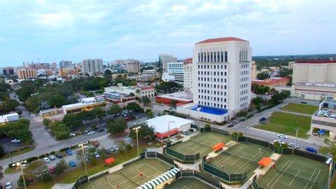 Drone shot of the City of Sarasota, Florida