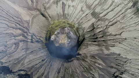 Java / Indonesia - August 17, 2018 : Aerial of Mount Bromo