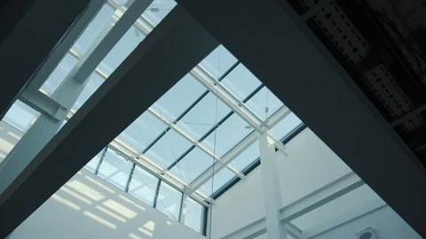 Modern architecture detail glass ceiling in the office building roof company architecture modern corporate department building business window interior industrial construction structure