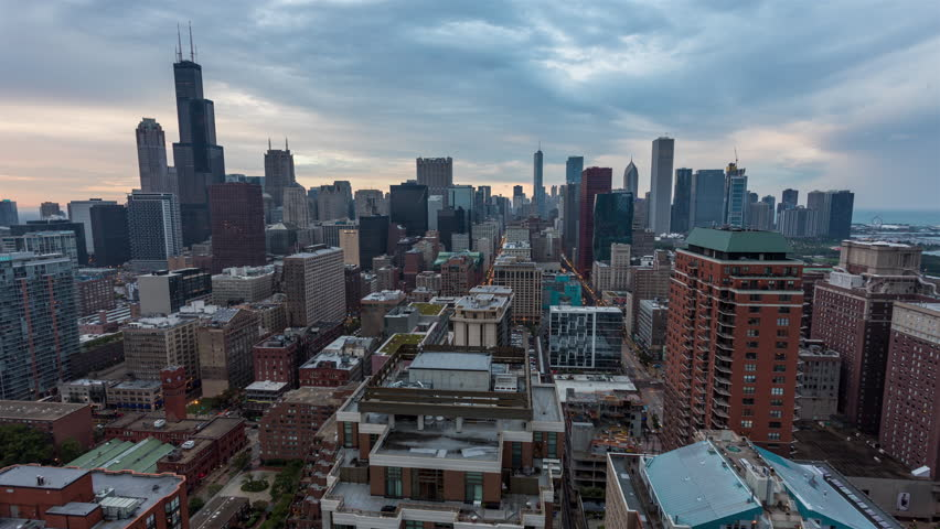 Downtown Chicago Skyline Day to Night Sunset Timelapse