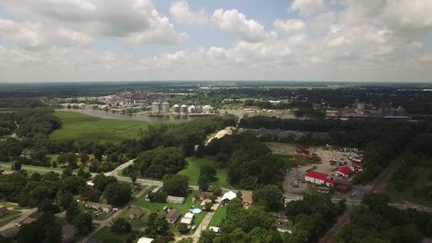Aerial footage above the towns of Blades and Seaford, located in Sussex County, Delaware, United States. The Nanticoke River runs through them both.