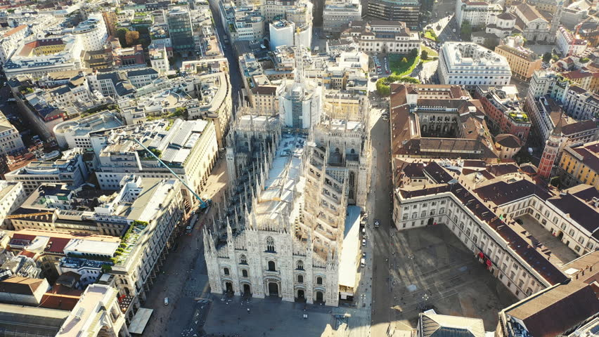 Aerial panoramic view of cityscape of Milan, historic part of city with gothic Milan Cathedral, landscape panorama of Italy from above, Europe #1017429415