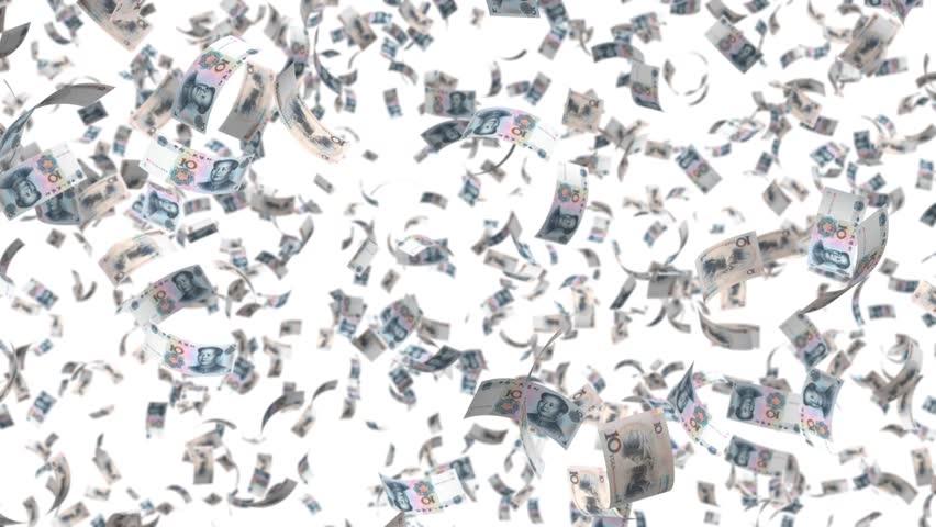 falling money leaf fall, alpha transparency China yuan  CNY