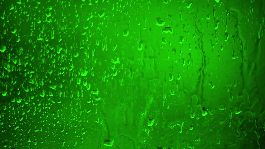 Chroma Key Stock 35 seconds - Close up Water Drops on Glass on a rainy day. 2/2 Green #1017452185