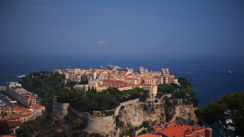 Tilt Down Time Lapse Aerial View of Monaco Ville Prince's Palace Famous Landmark