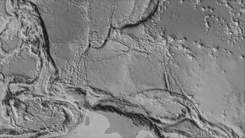 Caroline tectonic plate shape animated on the elevation grayscale map in the van der Grinten projection with oblique transformation. Stroke first. Peter Bird's division