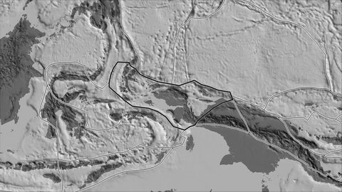 Birds Head tectonic plate shape animated on the bilevel elevation map in the van der Grinten I. Stroke first. Plates shapes in accordance with Peter Bird's division