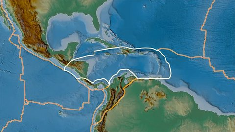 Caribbean tectonic plate shape animated on the relief map in the van der Grinten I. Stroke first. Plates shapes in accordance with Peter Bird's division